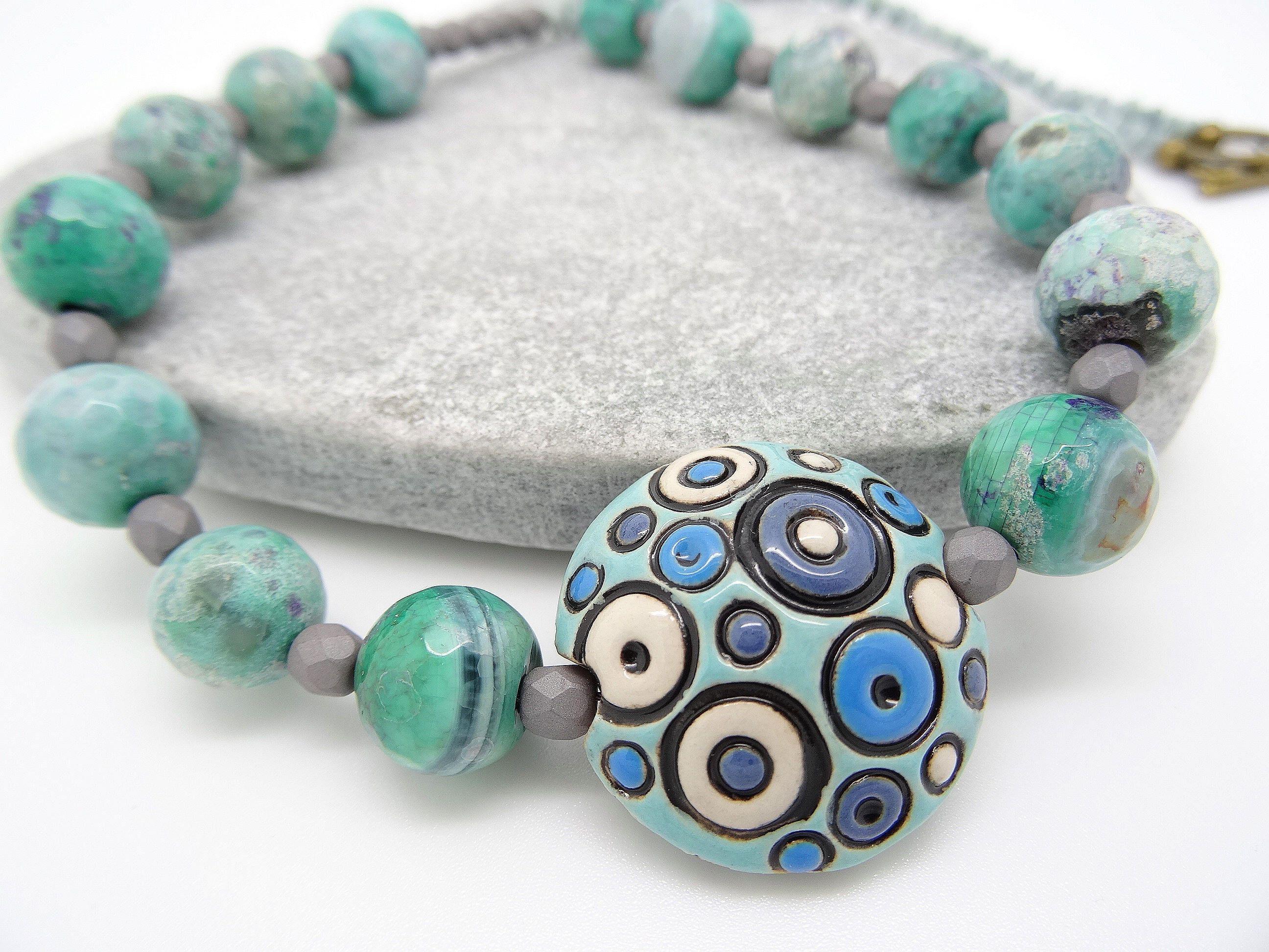 fire agate necklace ceramic necklace czech glass necklace blue