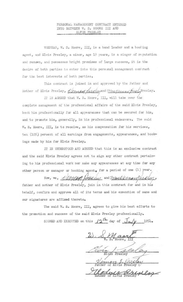 Scotty Moore - First Management Contract for Elvis Official - contract management