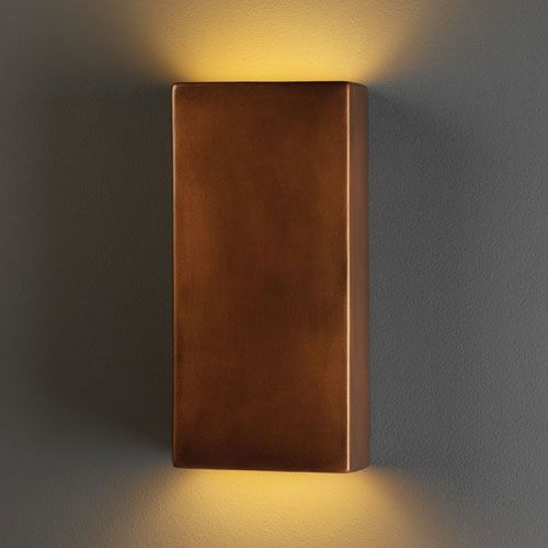 Ambiance Antique Copper Large Rectangle Two Light Bathroom