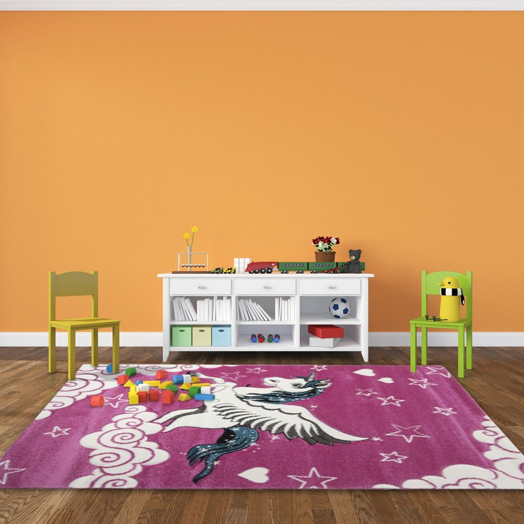 tapis pour chambre de fille rose licorne tapis enfant. Black Bedroom Furniture Sets. Home Design Ideas