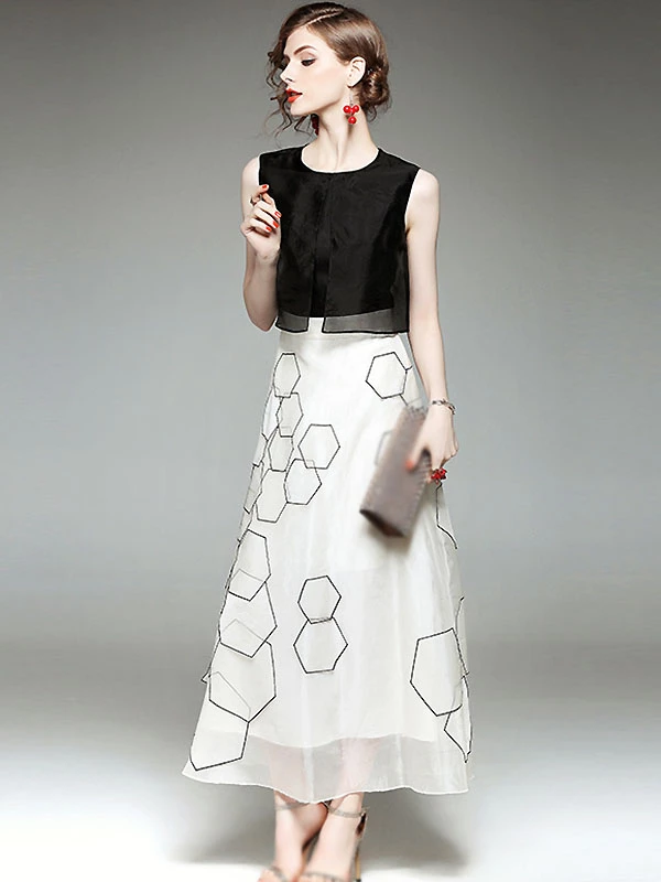 Stylish O-Neck Sleeveless Hit Color A-Line Dress - DressSure