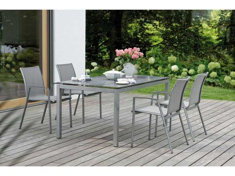 Stern Gartenmöbel Set Ron Graphit Tisch Granit Eisengrau Stern