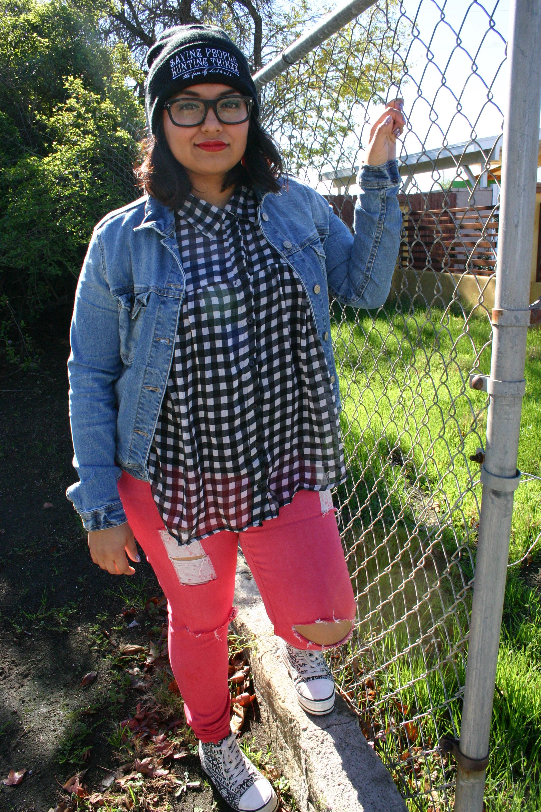 Distressed colored denim check shirt jean jacket via sistas from
