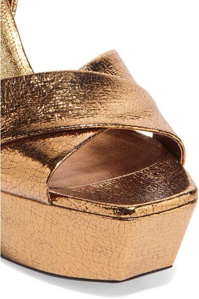 7baff4c98c8 Saint Laurent - Farrah Metallic Cracked-leather Platform Sandals - Bronze