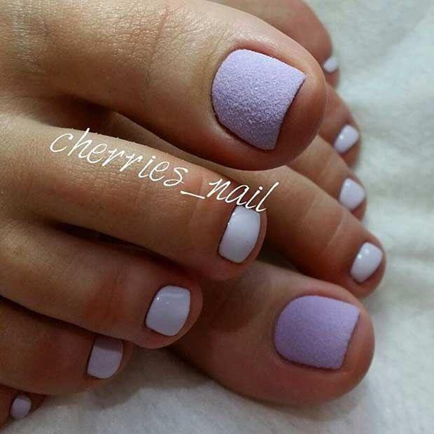 Matte Pastel Purple Toe Nail Design For Spring