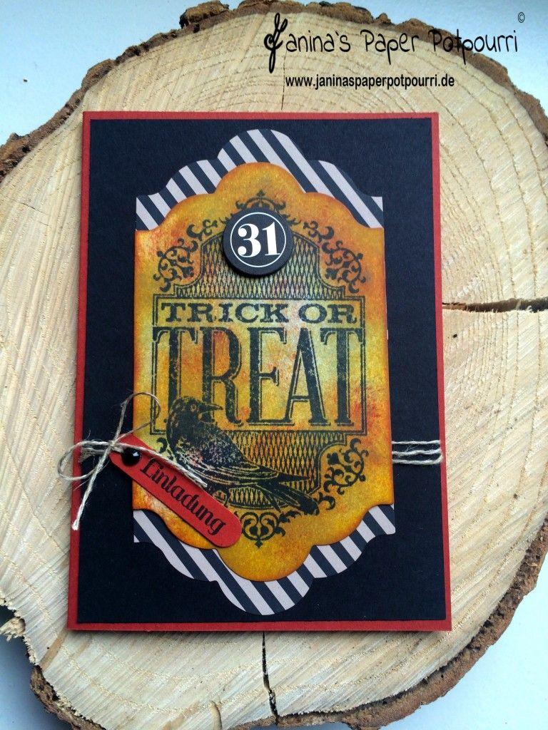 jpp - Projektset Schöne Schauernacht Aus 1 mach 4 - Teil 4 - Einladungskarte /Halloween  Invitation / Stampin' Up! Berlin Witches' Night / Eins für alles www.janinaspaperpotpourri.de