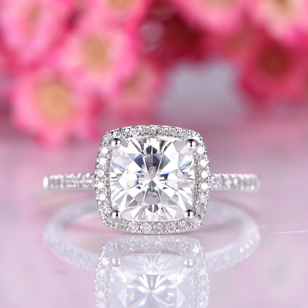 Charles & Colvard moissanite engagement ring 7.5mm cushion cut ...