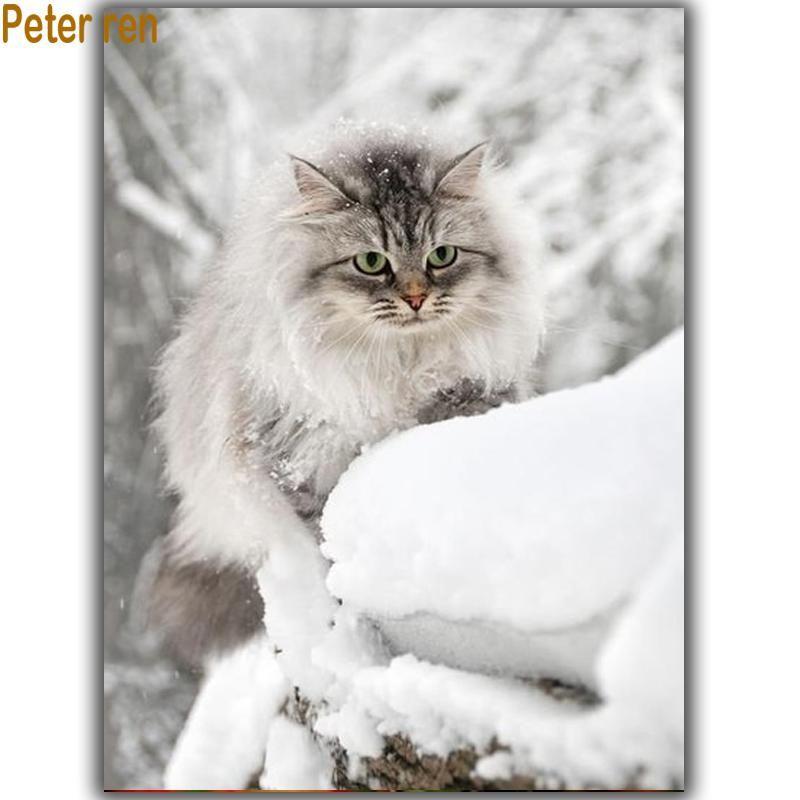 Peter Ren Diy Diamond Painting Handmade Cross Stitch Masonry Square Resin Diamond Mosaic Embroidery Crafts Needlework Snow Cat Feral Cats Cute Animals Crazy Cats