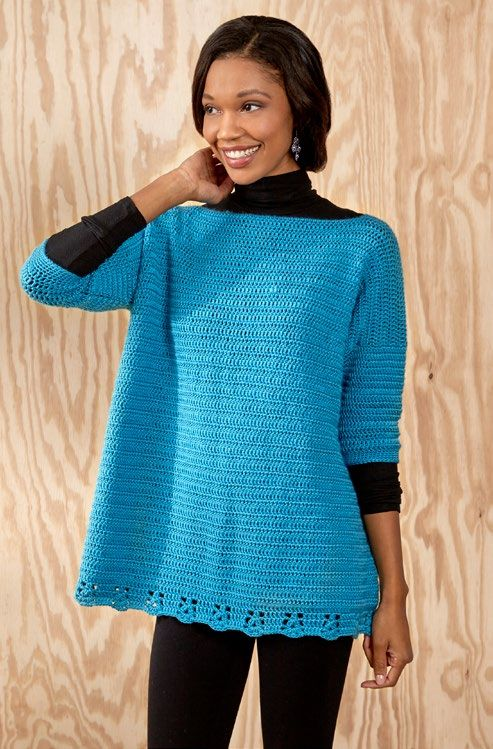 Free Relax-and-Unwind Sweater Crochet Pattern from www.RedHeart.com ...