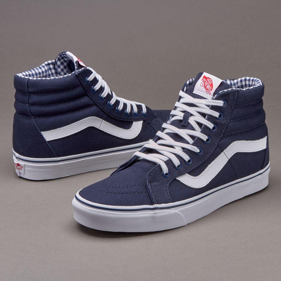 Vans SK8-Hi Reissue - Mens Shoes - Twill & Gingham Dress Blues / True White