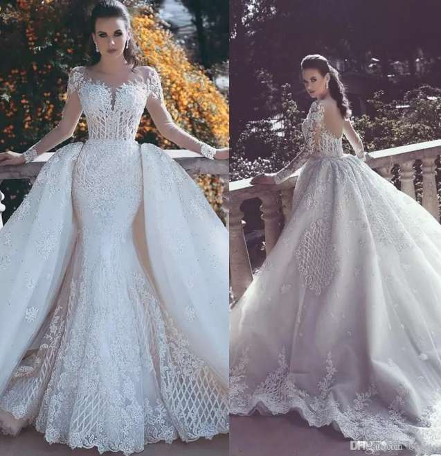 2018 New Mermaid Lace Wedding Dresses With Detachable