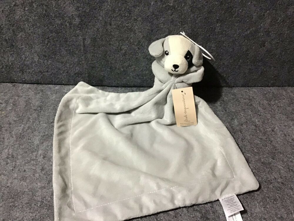 First Impressions Puppy Dog Dove Gray Security Blanket Black Eye