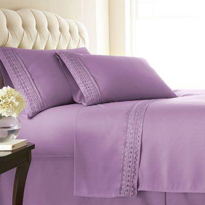 4-piece Crochet lace microfiber sheet set white//lavender lace King