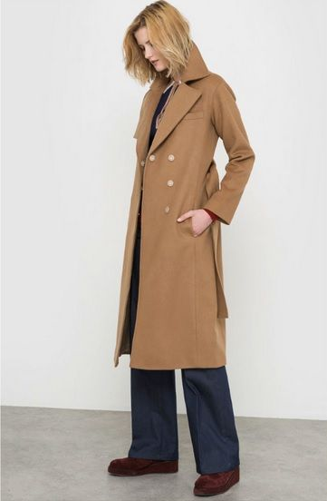 Camel long coat+navy trousers+burgundy flats. Fall Outfit 2016