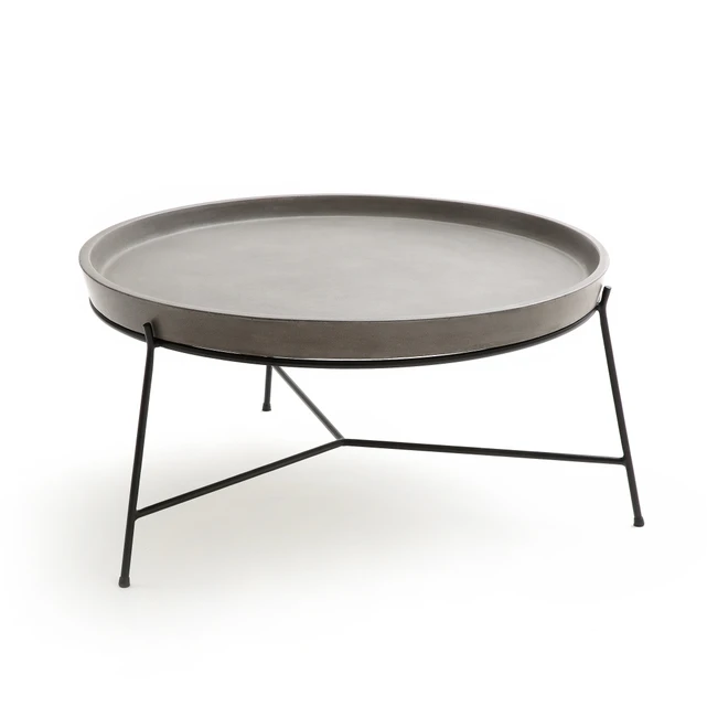 Ademola Cement Coffee Table Metal, Metal Patio Coffee Table