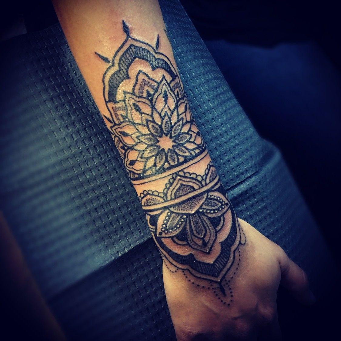 Pin By Elena Marie On Tattoo In 2020 Cuff Tattoo Sleeve Tattoos Mandala Wrist Tattoo