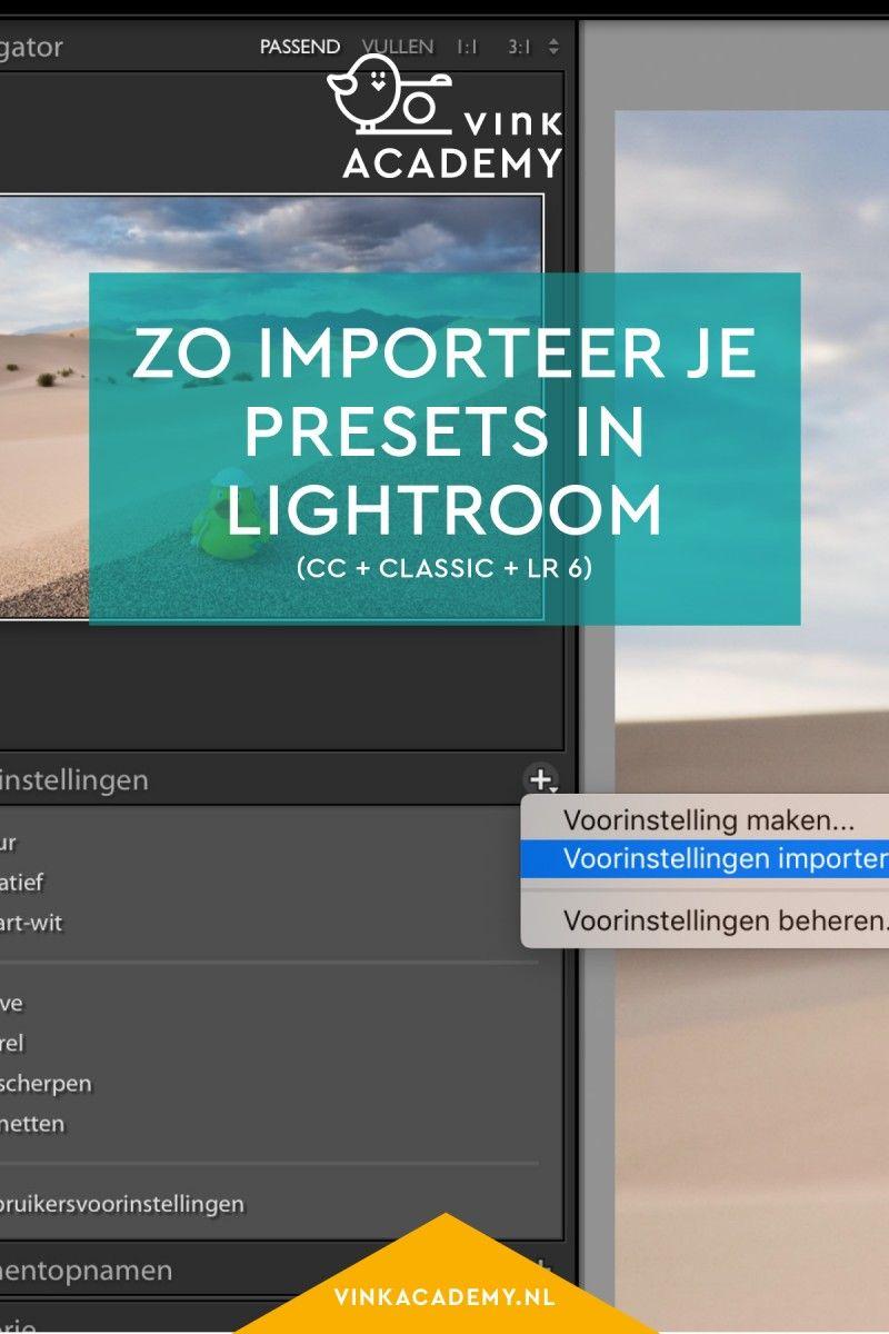 Lightroom presets (voorinstellingen) importeren