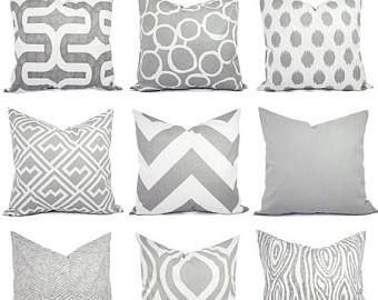grey pillow covers - grey and white throw pillows - decorative