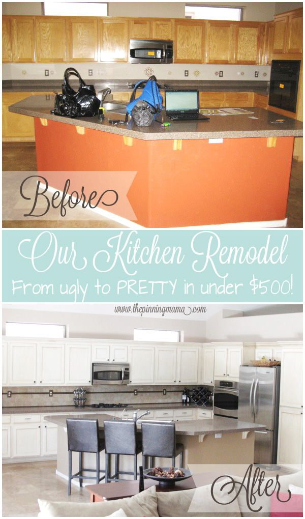 Kitchen Remodel: How we went from UGLY to PRETTY on a tiny budget.  Great tips on how to inexpensively make over your kitchen for a huge impact.