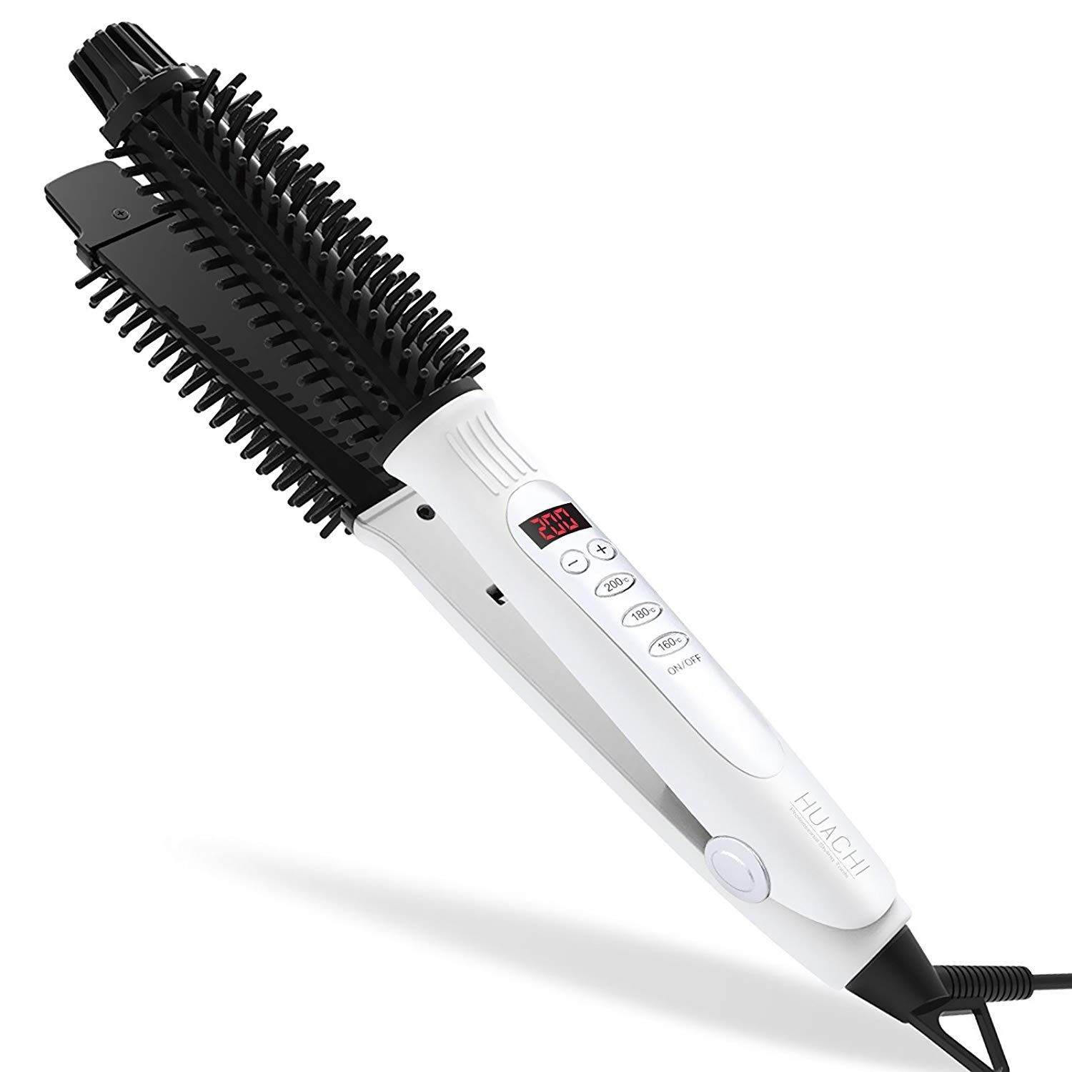 Huachi Hair Straightener 3 In 1 Ceramic Curling Iron Brush Flat Iron Hot Brush With Led Displ Round Hair Brush Flat Iron Hair Styles Ceramic Hair Straightener