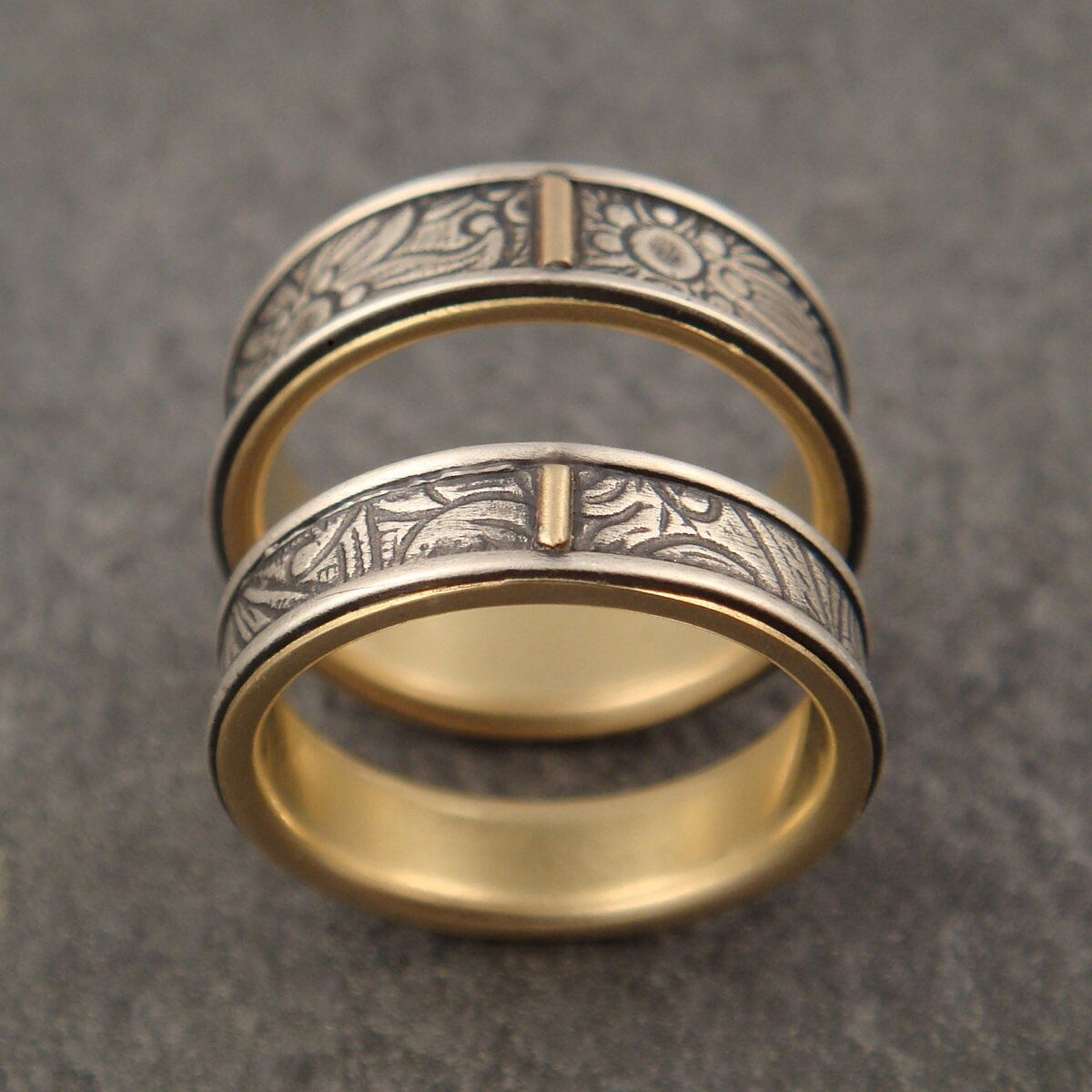 Gold Wedding Band Set Sunflower Wedding Ring Set Silver