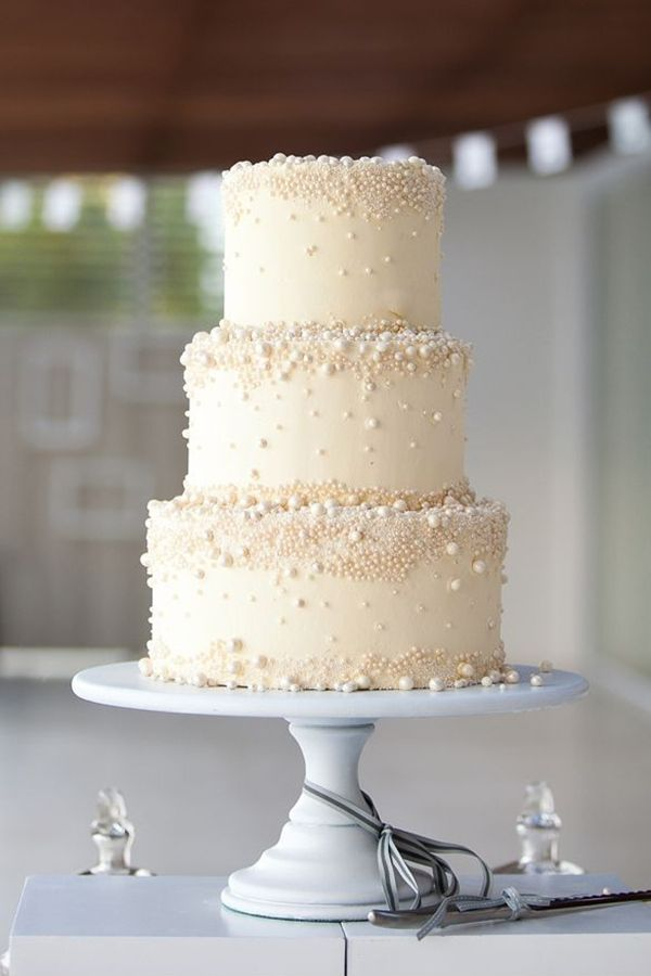 Traditional White Wedding Cake Buttercream And Pearl Details