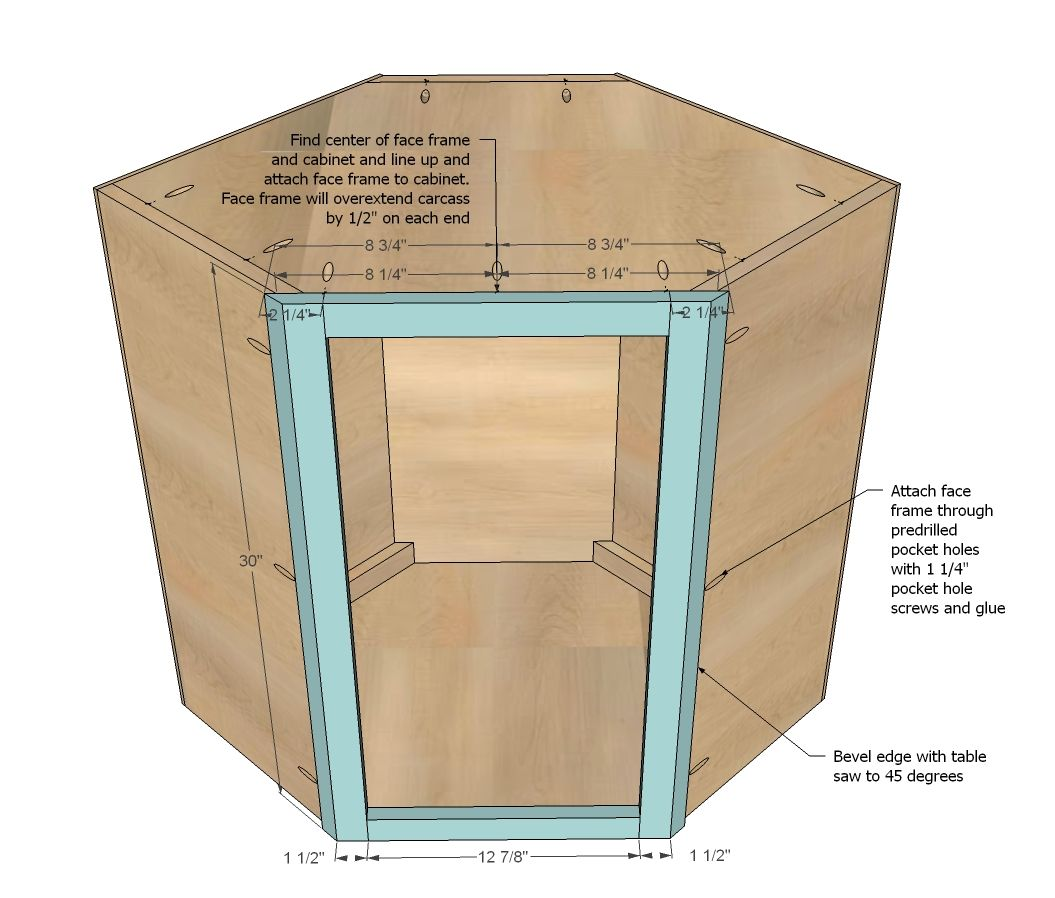 Ana white build a wall kitchen corner cabinet free and for Diy hutch plans