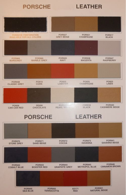 leather for porsche chart interior auto addiction interiors pinterest porsche 928 car. Black Bedroom Furniture Sets. Home Design Ideas