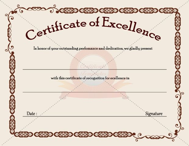 Certificate Of Excellence  Business Certificate