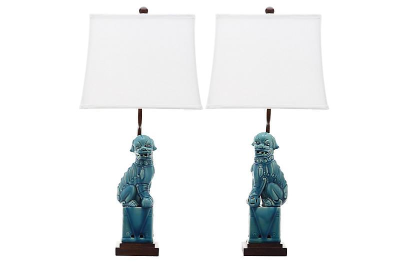 Foo Dog Table Lamp Set Blue Table Lamp Sets Dog Table Lamp Sets