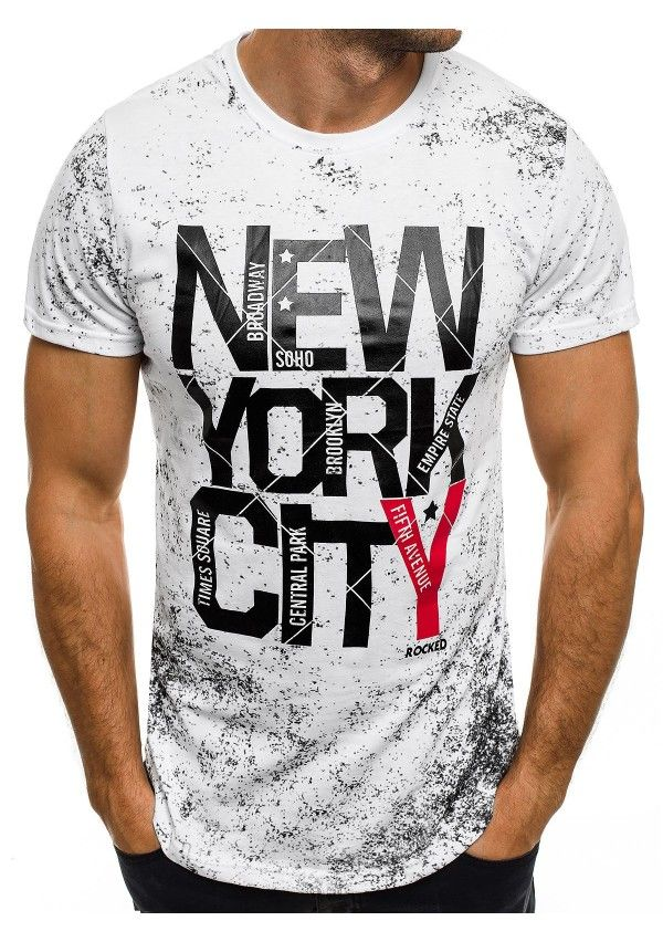 Herren T-Shirt Weiß – J.Style SS109 - T-Shirts - OZONEE  5b20cde49be