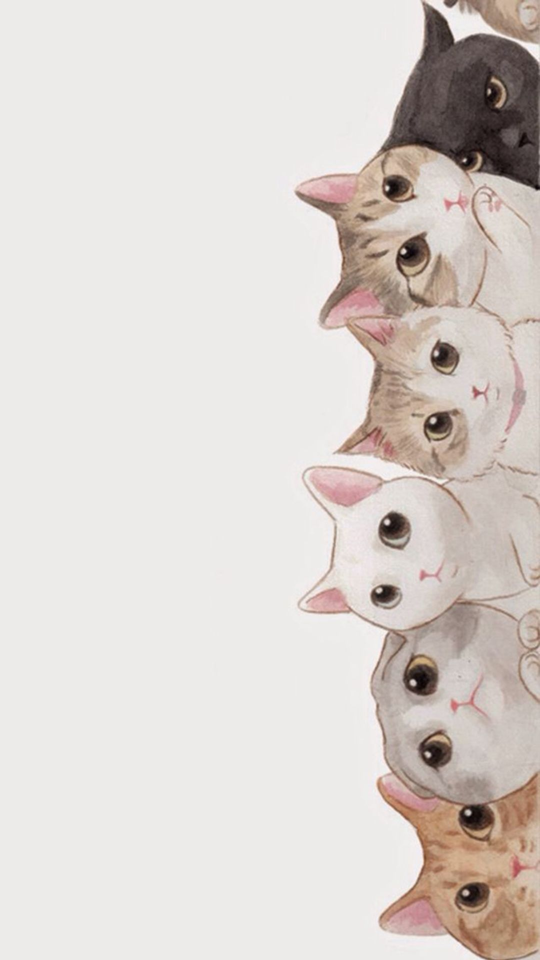 Cute Cats Vertical Aligned Illustration Iphone 8 Wallpapers Cute Wallpapers Cat Art Cat Wallpaper