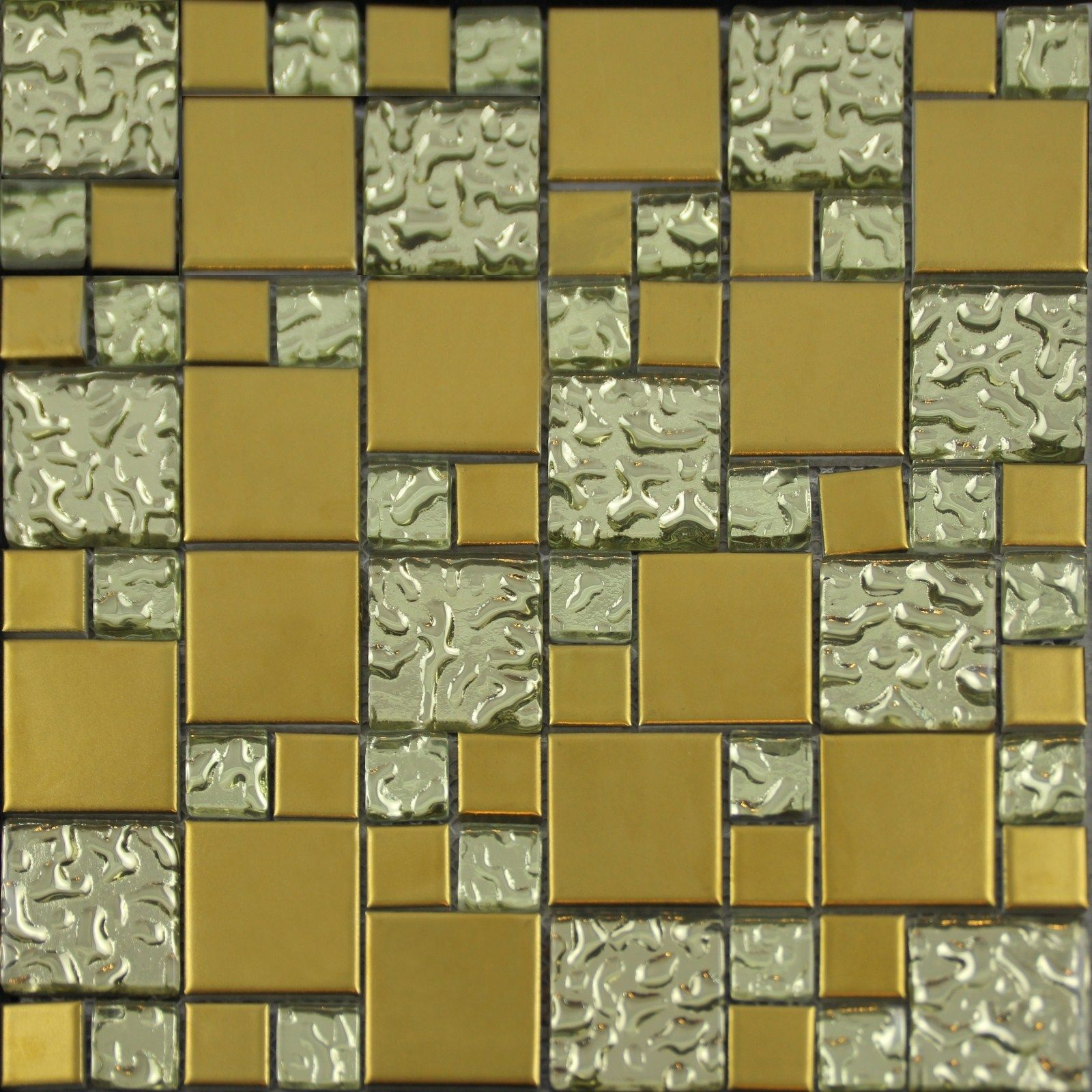 Gold Porcelain and Glass Mosaic Square Tile Designs Plated Ceramic ...