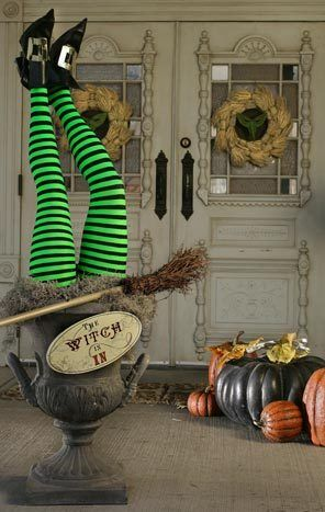 Halloween Garden Ideas My favorite item in this pic are the wreaths on the doors skeleton if i can find mannequin legs im making this witchy halloween display for my front porch i have the legs yeah a workwithnaturefo