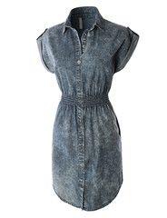 LE3NO Womens Classic Long Sleeve Button Down Chambray Denim Dress | LE3NO
