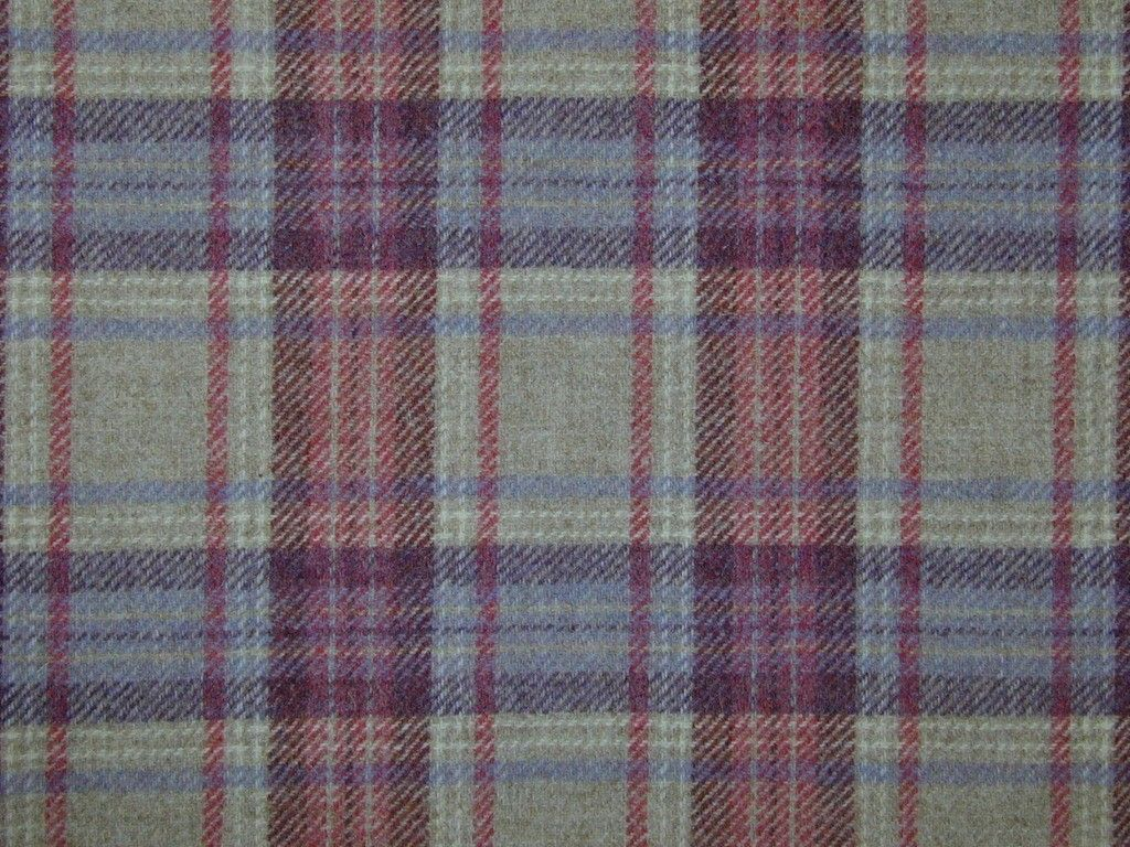 Highland Wool Tartan Check Natural Mauve Rose Curtain