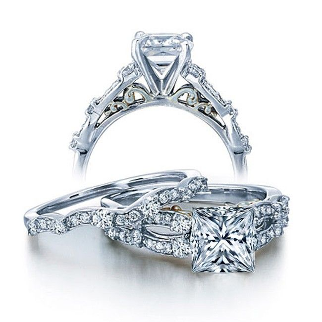 Amazing  Carat Vintage Princess Diamond Wedding Ring Set for Her in White Gold JeenJewels