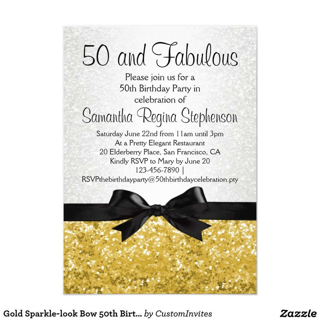 Gold Sparkle Look Bow 50th Birthday Party 4 5x6 25 Paper
