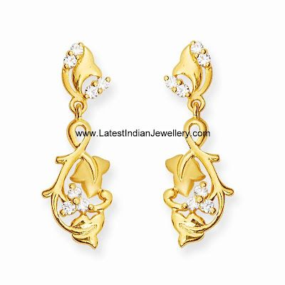 Cute Daily Wear Gold Earrings In Leafy Design Studded With Czs