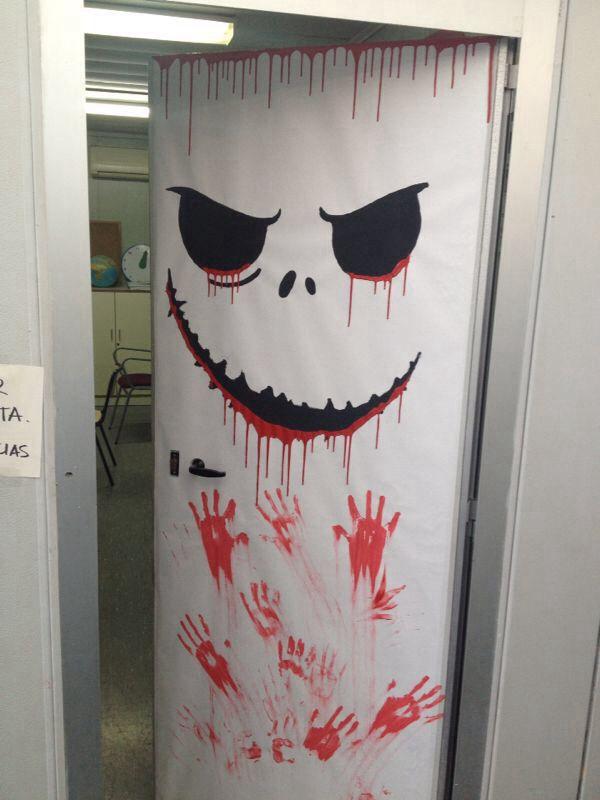 Bloody halloween door decoration #halloweendoordecorations