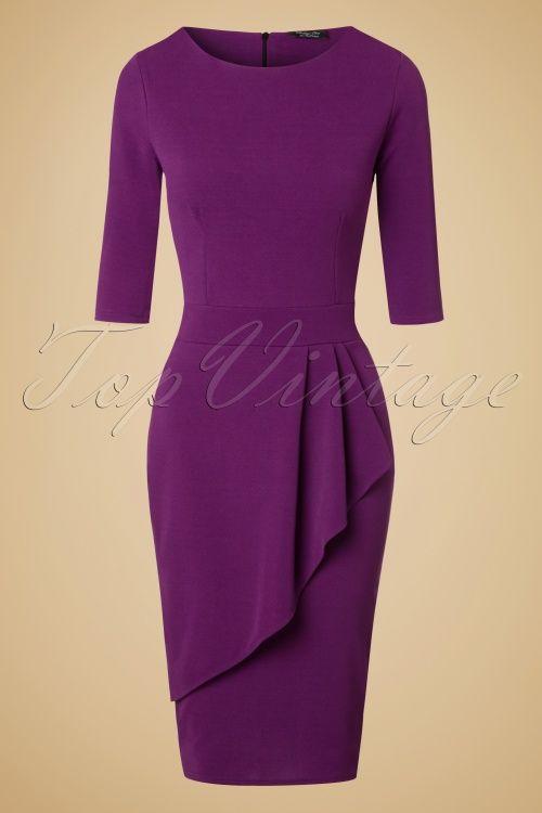 729c3d1cc8 Vintage Chic Barbara Wrap Skirt Pencil Dress in Purple 100 60 20062  20161103 0002w