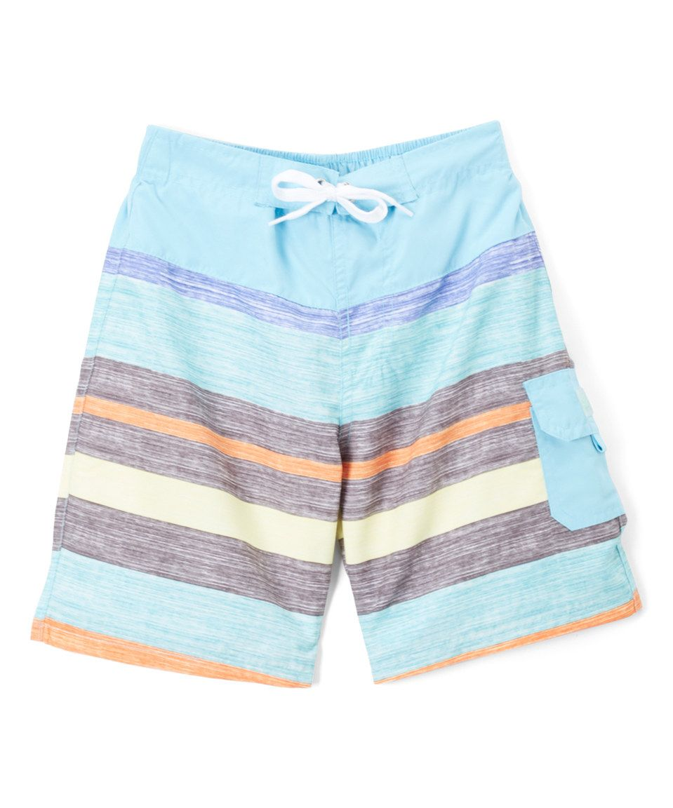 Take a look at this Light Blue & Gray Stripe Board Shorts - Boys today!