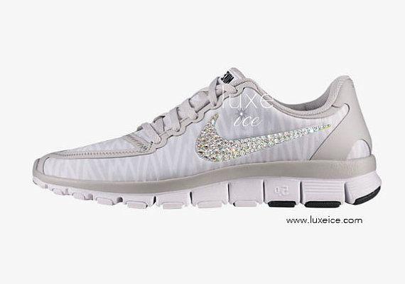 1887ef692aec NIKE free 5.0 v4 shoes w Swarovski Crystals Zebra White Wolf Grey Metallic  Silver from Luxe Ice