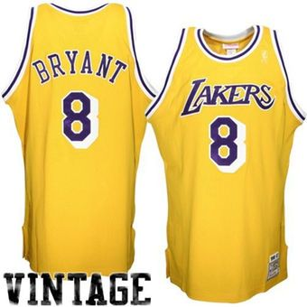 Mitchell   Ness Los Angeles Lakers  8 Kobe Bryant Gold Authentic Throwback  Home Jersey 9a277382e