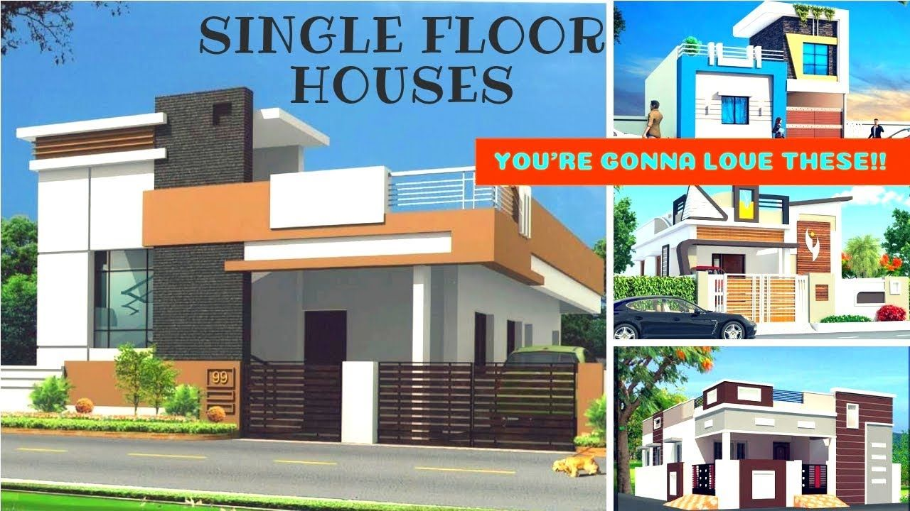 Individual house front elevation designs 2 bhk single floor house designs 3d views interior design
