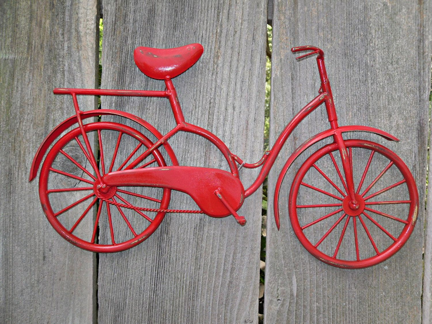 Bicycle Wall Art Red Decor Metal Shabby Chic 32 99 Via Etsy