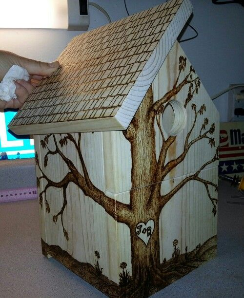 pyrography on bird house.. another side view
