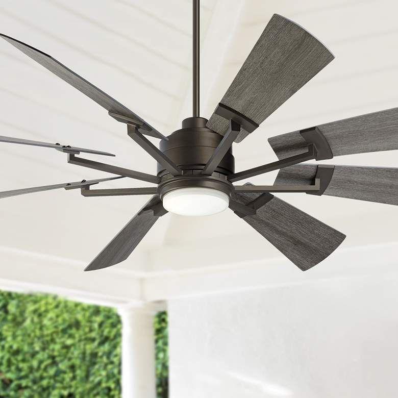 72 Casa Vieja Windmill Gray Oak And Bronze Led Ceiling Fan