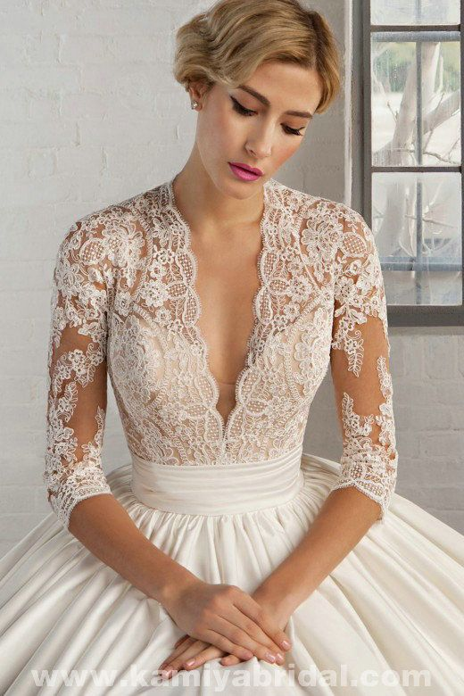 Only - $353.00 Cosmobella 7746 Lace And Satin bridal gown [Cosmobella-7746]…