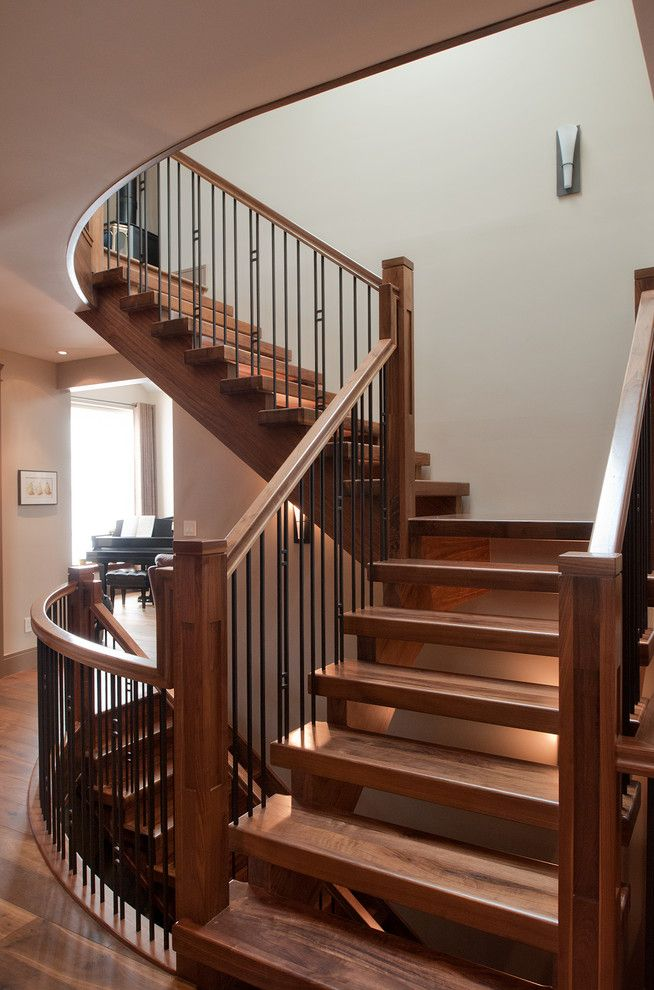 stair railings Staircase Craftsman with metal railing ...